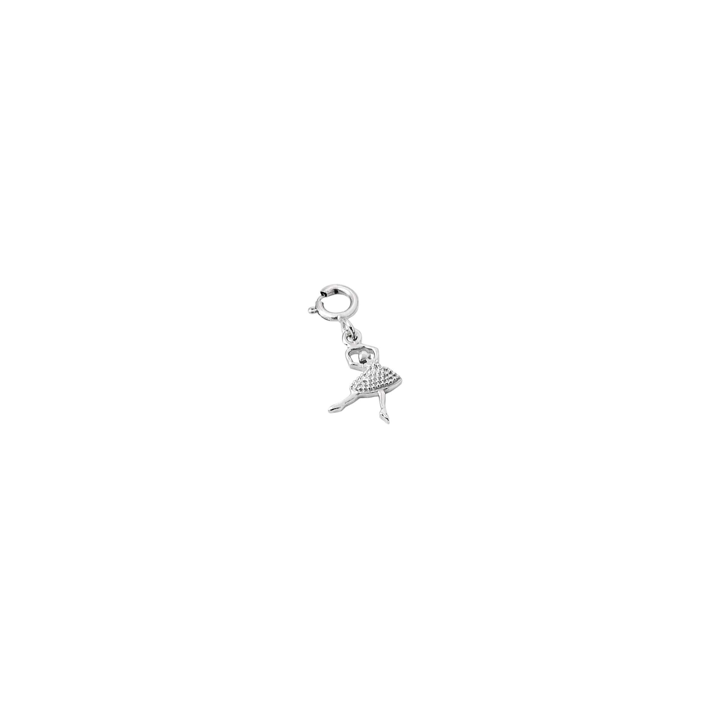 Pingente bailarina em ouro branco.