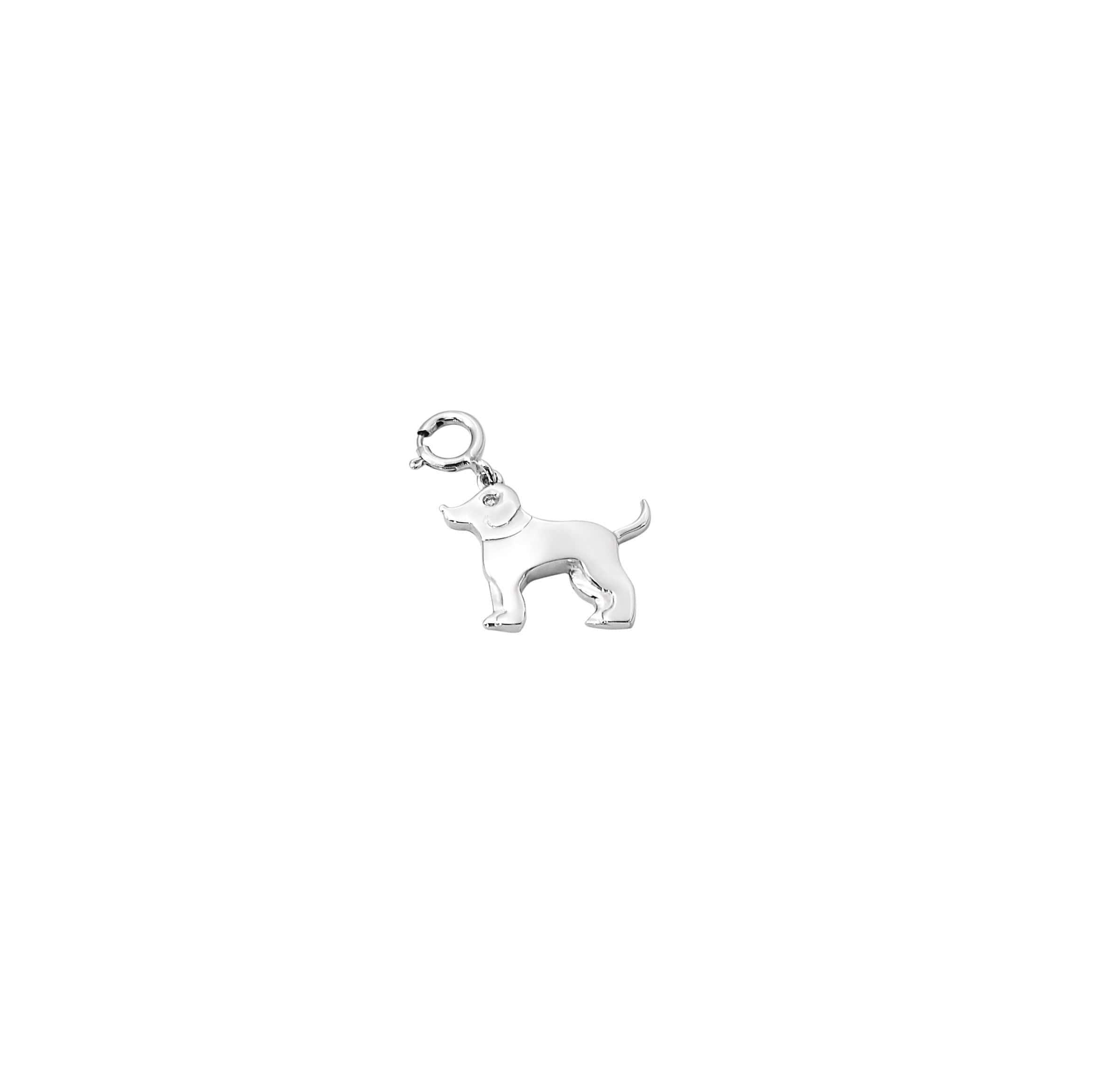Pingente cachorro em ouro branco com diamantes.