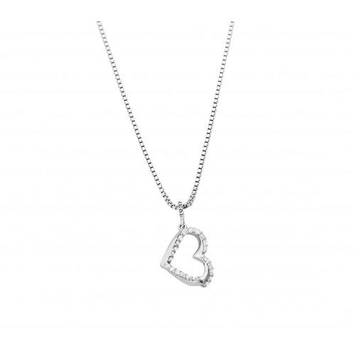 Pingente coração em ouro branco com diamantes.