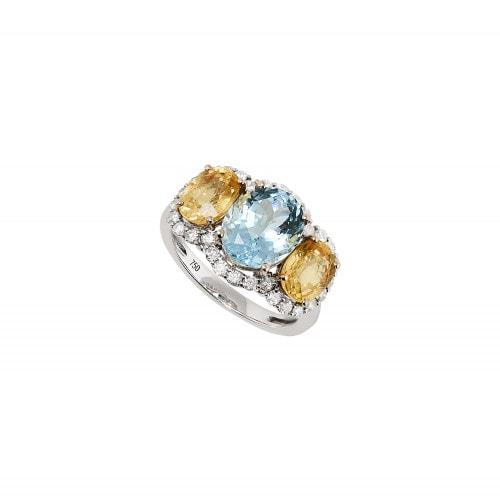Anel ouro branco com água marinha, safira amarela e diamantes.