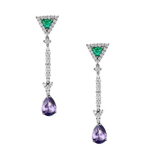Brinco de tanzanita, esmeraldas e diamantes.
